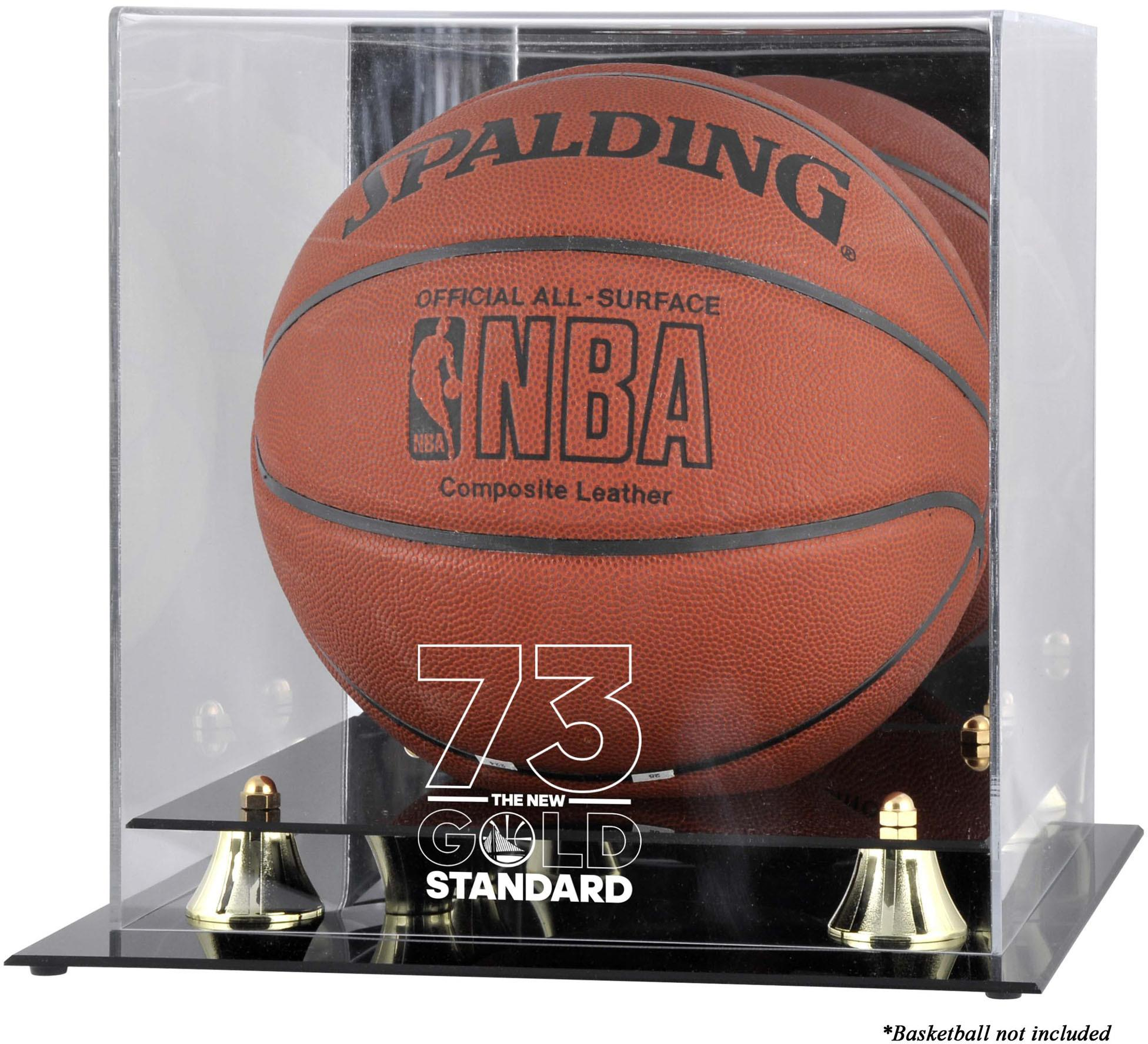 Golden State Warriors Record Breaking Season Logo Golden Classic Basketball Display Case - Fanatics Authentic Certified