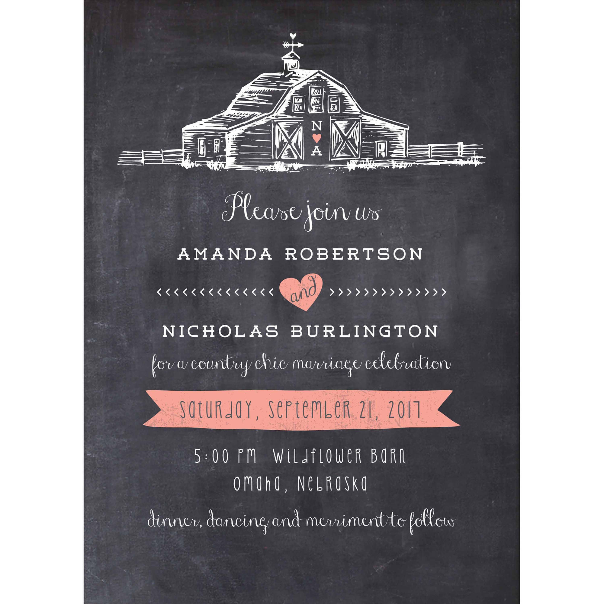Country Chic Barn Standard Wedding Invitation