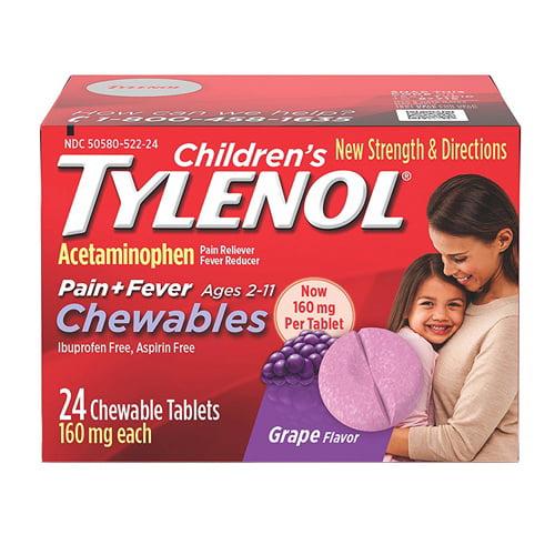 Tylenol Childrens Pain Plus Fever Chewable Tablets, Grape, 24 Ea, 3 Pack