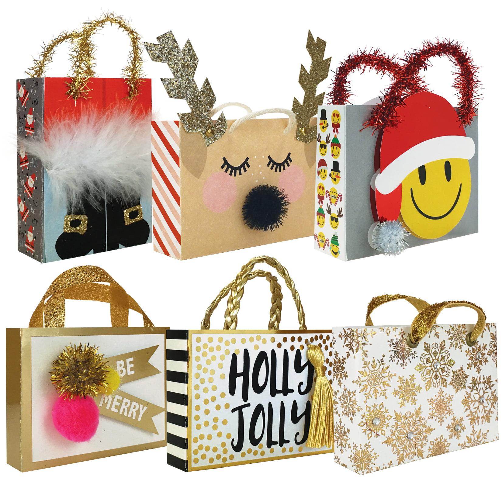 Jillson & Roberts Ultra Tiny Treasure Tote Assortment, Christmas Designs (6 Bags)
