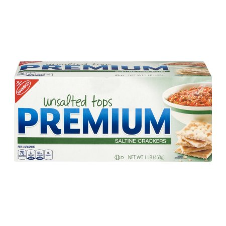 (2 Pack) Nabisco Premium Unsalted Tops Saltine Crackers 16 Oz Box