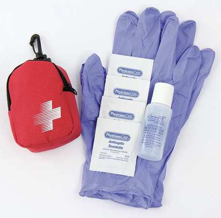 PHYSICIANSCARE 3023 First Aid Kit, Portable, Red, Fabric