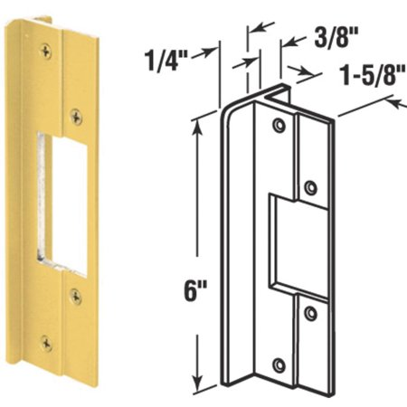 Mag Security Door Lock Guards 8.4 in. x 3.8 in. x 0.9 in. Brass Brass For Doors that Open Out 1/Card