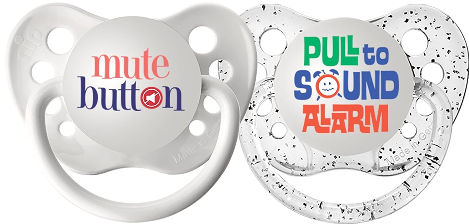 Ulubulu Expression Pacifier - 0-6 Months - 2 Pack - Mute Button / Pull To sound Alarm