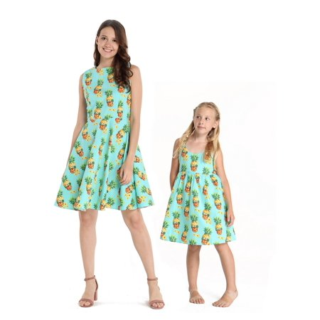 Matching Hawaiian Luau Mother Daughter Vintage Dresses in Halloween Pineapple Skull M-10