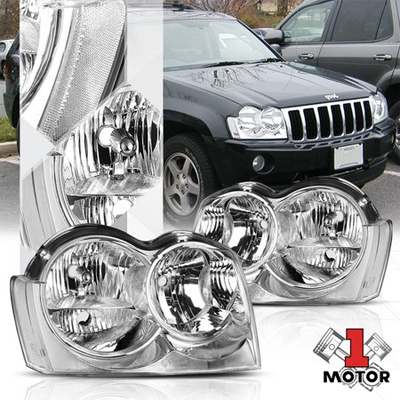 Chrome Housing Headlight Clear Signal Reflector for 05-07 Jeep Grand Cherokee (Jeep Grand Cherokee For Sale Knoxville Tn)