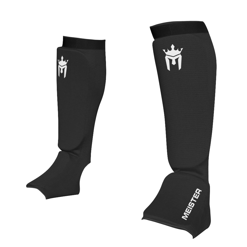 Meister Elastic Cloth Shin & Instep Padded Guards (Pair) Black - X-Small