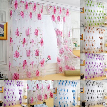 Peony Sheer Curtains, Floral Voile Tulle Curtain Panels Window Treatment Drape Valance Fabric Room Dividers for Kitchen Door Home Decoratins
