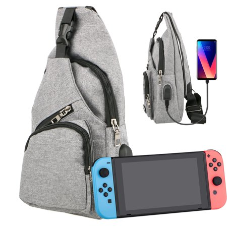 TSV Switch Travel Bag with USB Charging Port, for Nintendo Switch Console & Accessories, Protective Storage Sling Backpack Shoulder Bag for Nintendo Switch and