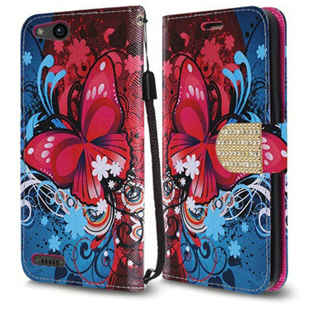 ZTE ZFive G LTE Z557BL Case - Synthetic PU Leather Wallet Holder Pouch Case [Card Slots | Bill Fold] with Magnetic Flip Closure Cover - [Butterfly Symphony] and Atom Cloth