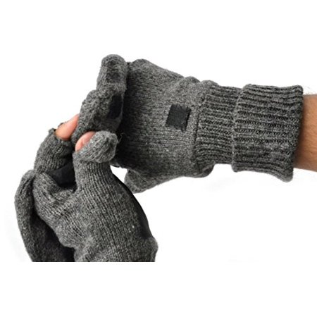 Mens Fingerless Suede Palm Ragg Wool Mitten Gloves w/ Finger & Thumb Pullover (L/XL, Charcoal)