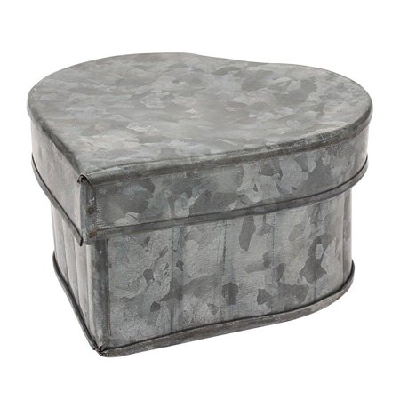 Stonebriar Collection Aged Galvanized Metal Heart Shape Container with Lid Box Metal Rectangular Collection