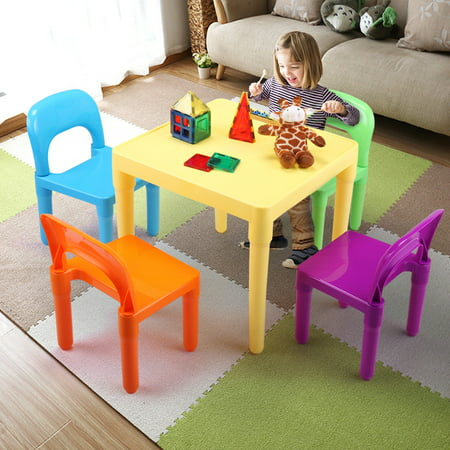 - Jaxpety Kids Plastic Table and 4 Chairs Set for Toddler Lego Activity Furniture Indoor Outdoor