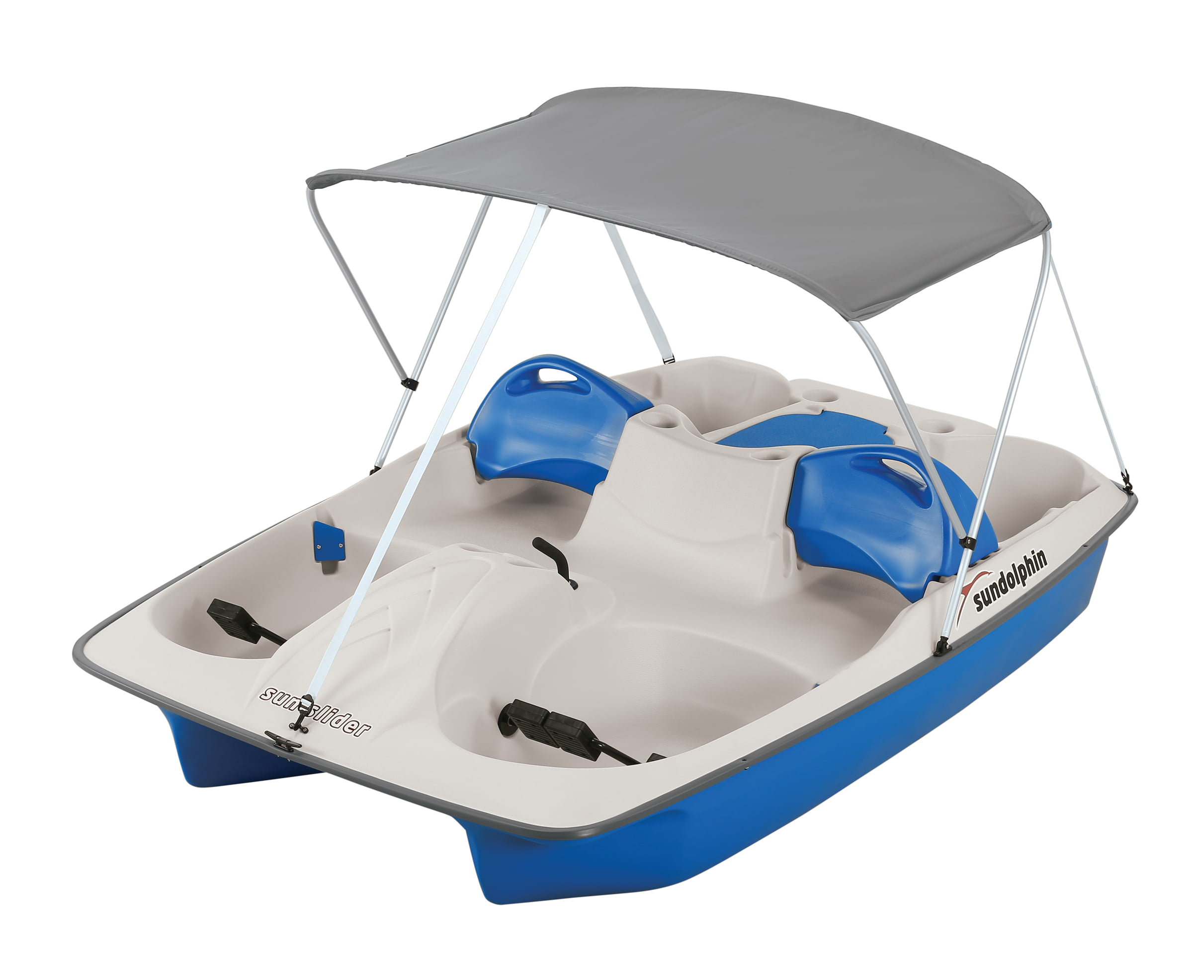 Click here to buy Sun Dolphin 5-Person Sun Slider Pedal Boat with Canopy, Blue by KL Outdoor.