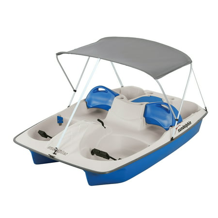 Sun Dolphin 5 Position Seat Sun Slider Pedal Boat with Canopy, Blue
