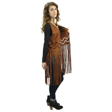 Faux Suede Vest With Long Flowing Fringe