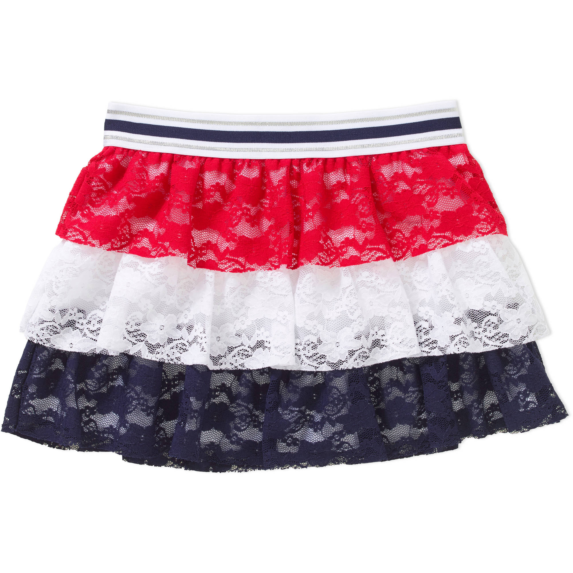 Girl's Americana Lace 3 Tier Skirt