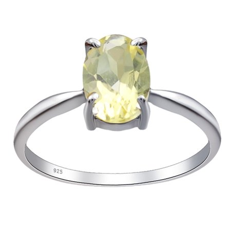 Orchid Setting (Orchid Jewelry 925 Sterling Silver 1.1 Ctw Lemon Quartz 4-Prong Setting Engagement Ring Size)