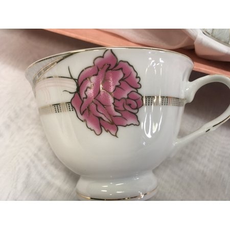 Fine Porcelain 12pc Tea Cup Set, Cups & Saucers,  Rose & Ribbon Pattern China