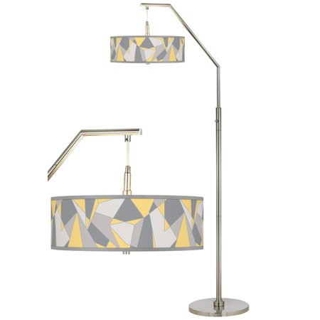 Mosaic Floor Patterns (Giclee Glow Modern Arc Floor Lamp Brushed Nickel Mosaic II Pattern Giclee Drum Shade for Living Room Reading Bedroom Office )