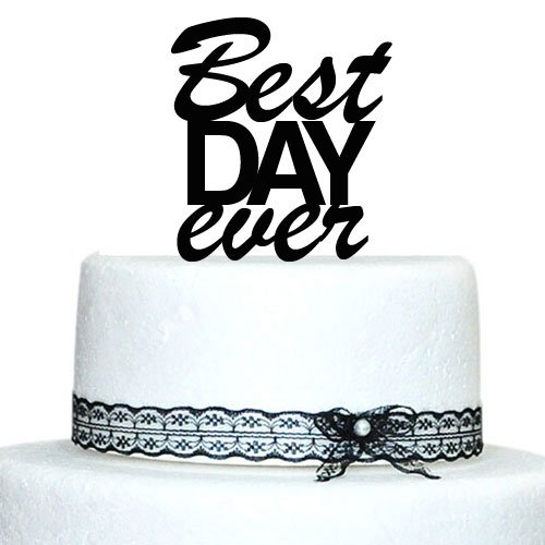 Buythrow Best Day Ever Wedding Cake Toppers Monogram Cake Topper Engagement, Anniverary, Bridal shower Cake Topper Acrylic