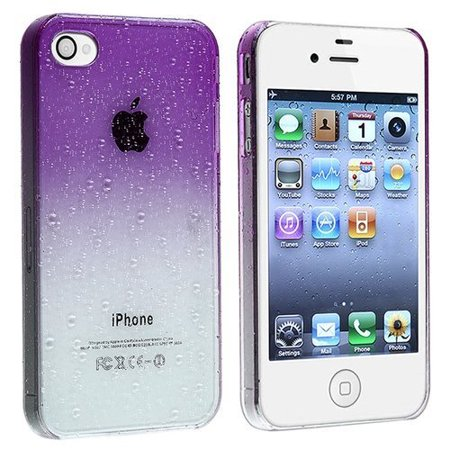 Ultra Thin Crystal Rear Only Case with Neon Green Trim screen protector for iPhone 4 / 4S - Clear Purple ()
