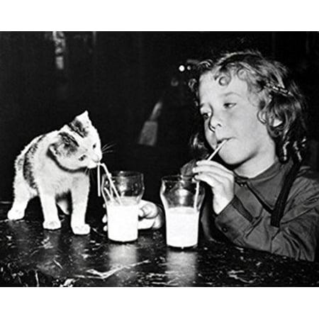 Milk Buddies 16x20 Art Print Poster LITTLE GIRL KITTEN MILK STRAWS Animal Art Childrens Art Cute Vintage Black and White](Cute Childrens Boutiques)