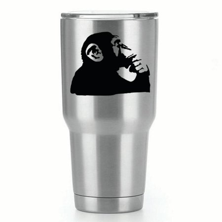 - Banksy Thinking Monkey |Single Yeti Decal | 3-Inch Black Vinyl Decal