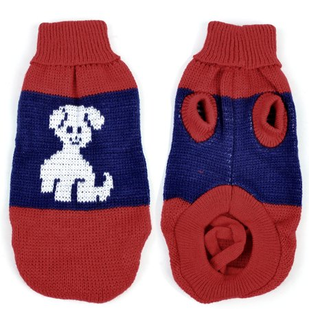 Knit Turtleneck Dog Sweater - Unique Bargains Warm Turtleneck Dog Print Knitted Coat Chihuaha Dog Sweater Clothes Red Blue L