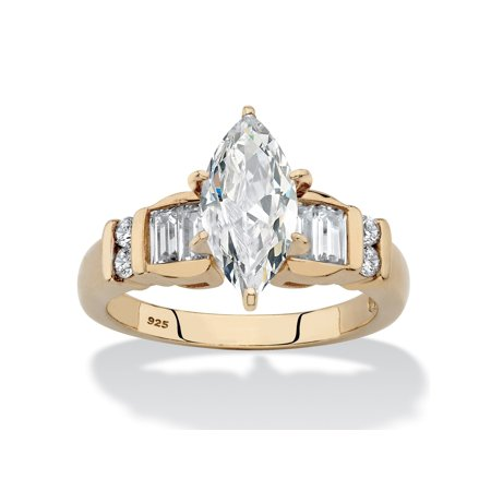 - Marquise-Cut and Baguette Cubic Zirconia Engagement Ring 2.57 TCW in 14k Gold over Sterling Silver