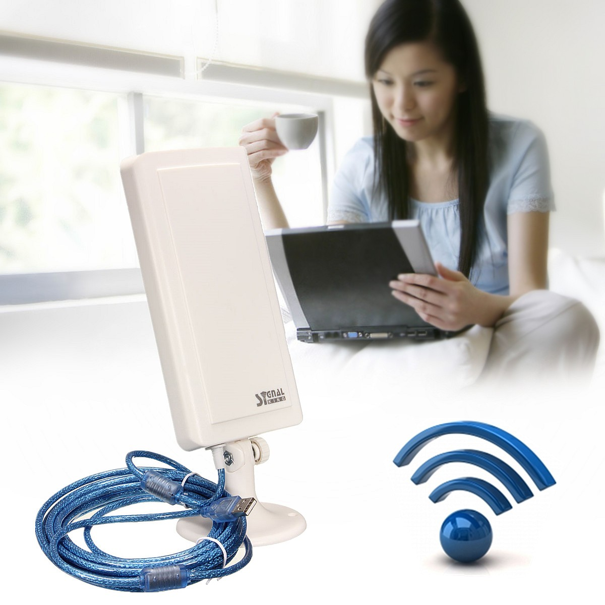 2.4GHz 150Mbps WiFi Antenna 2500m Long Distance Range Wireless Extender Booster Repeater USB Adapter
