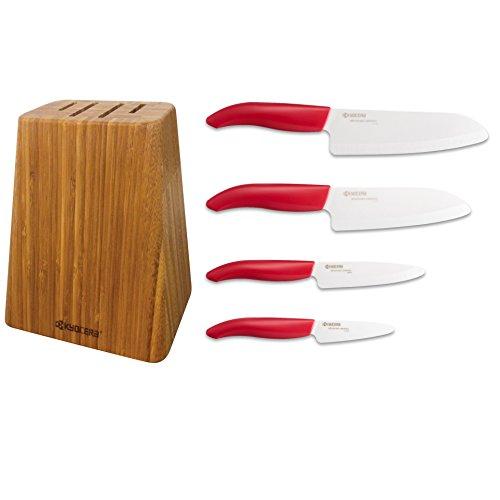 "KYC123265 Kyocera KB5PCSET-FKBKBK Bamboo Knife Block Set 7""/5.5""/4.5""/3"", Handle/Black Blade"