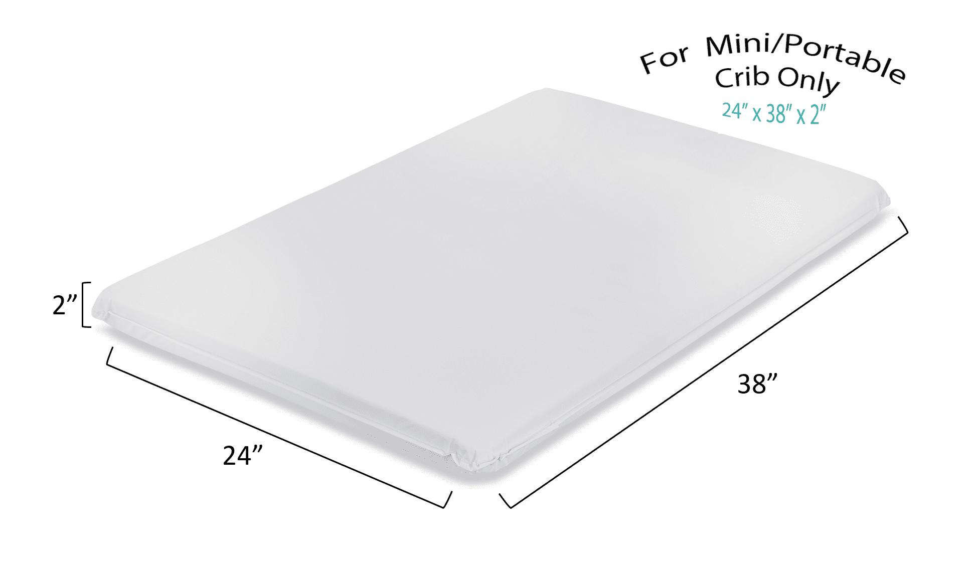 "LA Baby 2"" Waterproof Mini/Portable Crib Mattress Pad – Non Full"