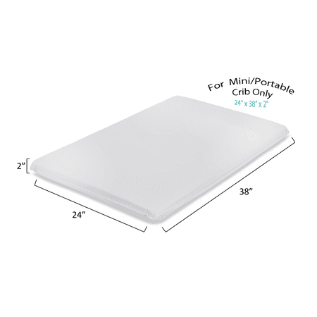 "LA Baby 2"" Waterproof Mini/Portable Crib Mattress Pad – Non Full"
