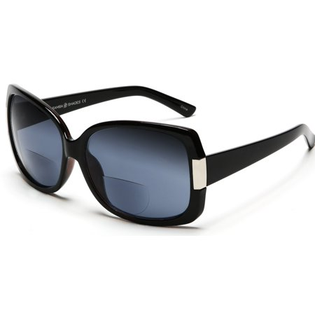 Women's BiFocal Sun Readers Sunglasses Jackie O Black - 2 / (Samba Sunglasses)
