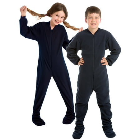 Big Feet Pjs Big Boys Junior Navy Fleece Kids Footed Pajamas One Piece Sleeper (Valentines Pjs)
