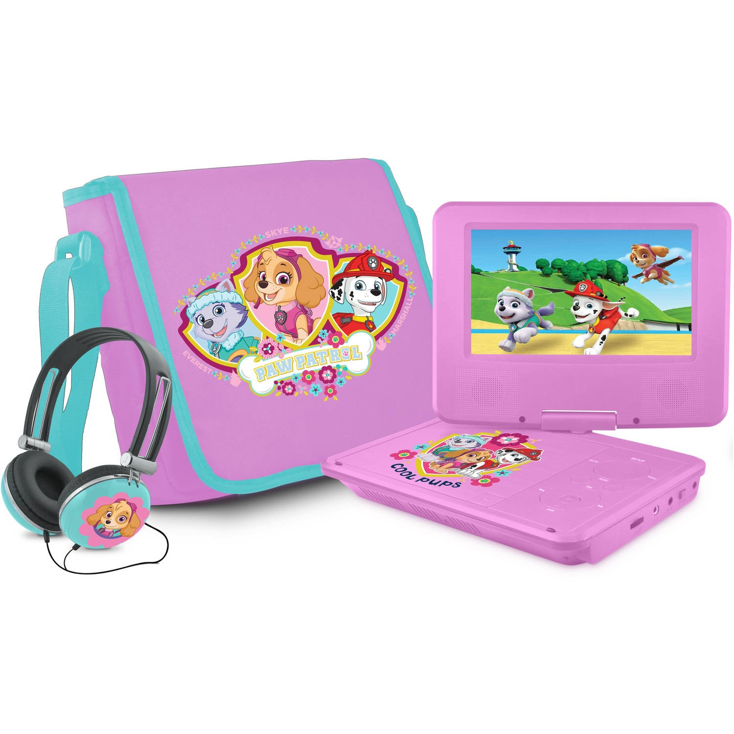 """Paw patrol 7"""" portable dvd player with carrying bag and headphones, pink"""