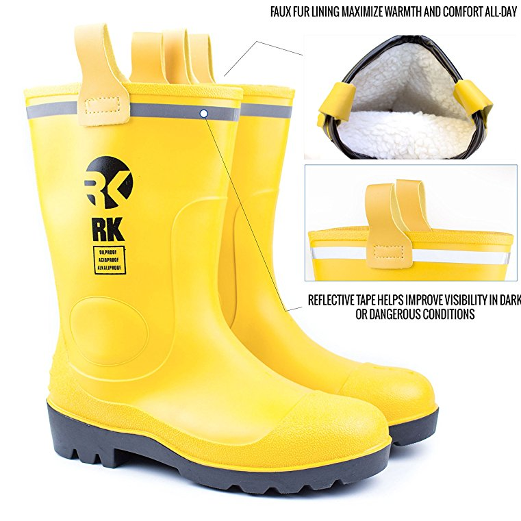 RK Mens Insulated Waterproof Fur Interior Rubber Sole Winter Snow Cold Weather Rain Boots  -9 D(M) US, Yellow