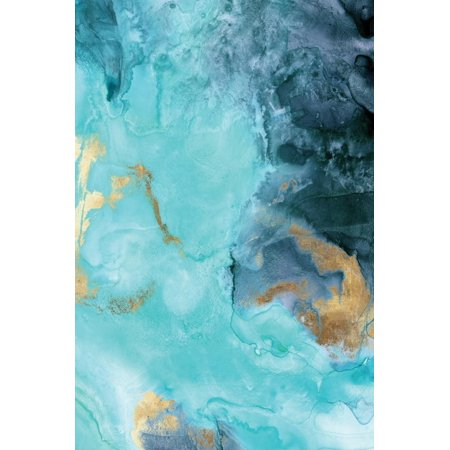 Gold Under the Sea II Turquoise Teal Blue Abstract Painting Print Wall Art By Eva Watts