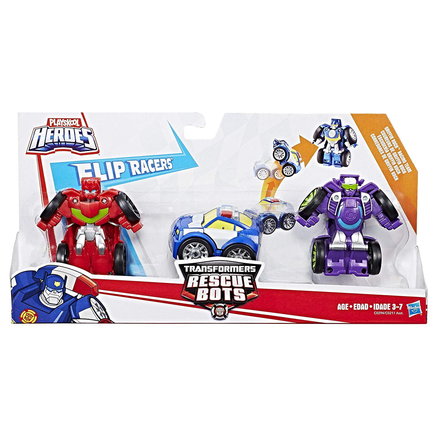 Playskool Heroes Flip Racers Transformers Rescue Bots Griffin Rock Racing Team by