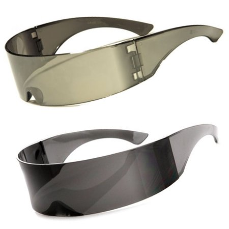 Futuristic Cyclops Sunglasses Retro Party Shield Full Mirror Black Silver (Cyclops Shades)