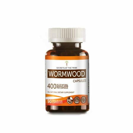 Wormwood 90 Capsules, 400 mg, Organic Wormwood (Artemisia absinthium) Dried Herb