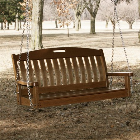 Teak Swing Seat - POLYWOOD® Nautical 4 ft. Recycled Plastic Porch Swing - Teak or Slate Gray