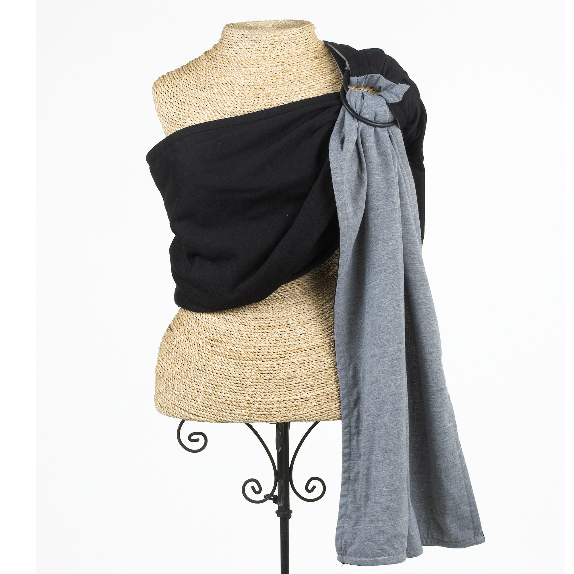 Balboa Baby Sling - Reversible Jersey Ring Sling - Black and Grey