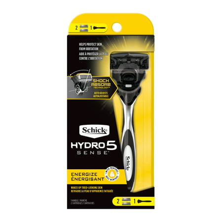 Schick Hydro Sense Energize Razor for Men, Includes 1 Razor Handle and 2 Razor Blades Refills - Included Bamboo Blades