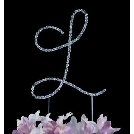 Yacanna Swirl Design Crystal Monogram Cake Toppers Silver Cake Initial L