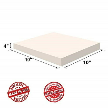 "Upholstery Visco Memory Foam Square Sheet- 3.5 lb High Density - Luxury Quality For Sofa, Chair Cushion, Pillow, Doctor Recommended for Backache & Bed Sores by Dream Solutions USA (4""Hx10""Wx10""L)"