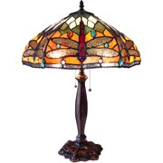 "Chloe Lighting Pantala Tiffany-Style 2-Light Dragonfly Table Lamp with 18"" Shade"