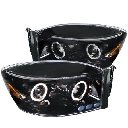Spec-D Tuning For 2006-2008 Dodge Ram 1500 2500 3500 Dual Halo Jet Black Projector Headlights Pair 2006 2007 (2006 Dodge Ram 2500 Tailgate For Sale)
