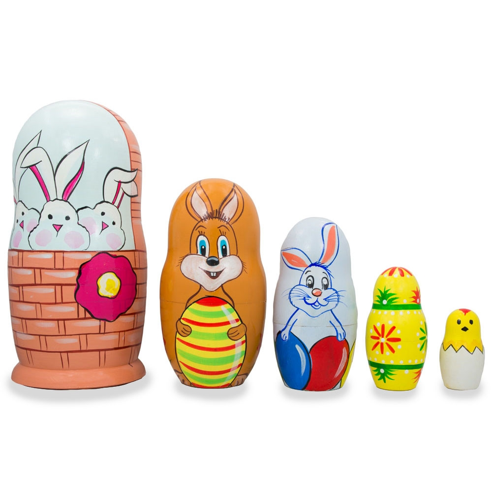 "6"" Set of 5 Bunnies, Chick with Easter Eggs Wicker Basket Wooden Nesting Dolls"